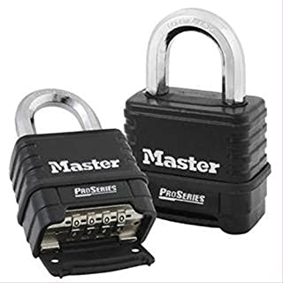 Master Lock 1178D 4 Pack 2-1/4in. ProSeries Zinc Die-Cast Resettable Combination Padlock, Black