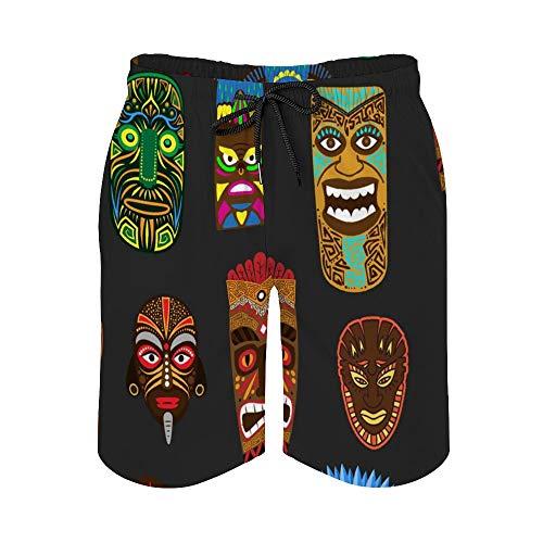 MayBlosom Pantalones cortos de playa para hombre, étnico africano Aborigen cubierta de...