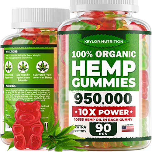 KEYLOR NUTRITION Premium Hemp Gummies 950,000 – All Natural Ingredients - Relief for Stress, Inflammation, Sleep, Anxiety, Depression – Vitamins & Omega 3,6,9 – Made in The USA - 60 pcs