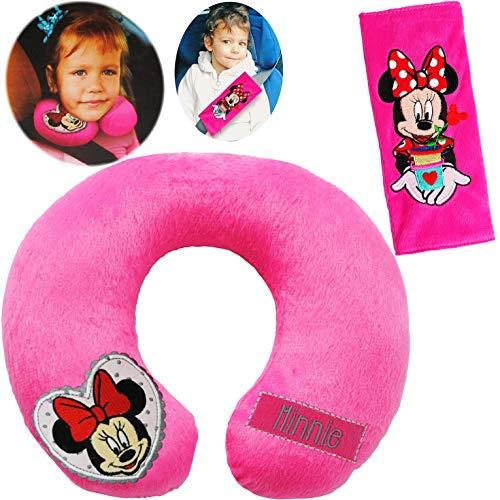 alles-meine.de GmbH 2 TLG. Set _ Nackenkissen / Nackenrolle & Gurtpolster __  Disney Minnie Mouse  - Kissen für Auto / Gurtschoner - Kindersitz - Reisekissen / Reisehörnchen - ..