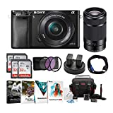 Sony Alpha a6000 Mirrorless Camera w/ 16-50mm & 55-210mm Lens & Four 32GB SD Card Bundle