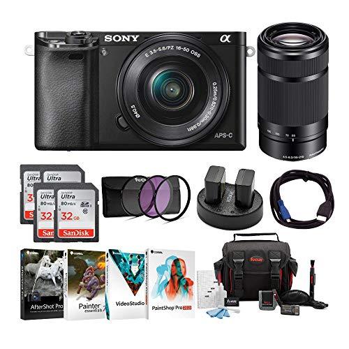Sony Alpha a6000 Mirrorless Camera w  16-50mm & 55-210mm Lens & Four 32GB SD Card Bundle