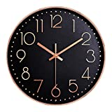 JanPraci Reloj de Pared Moderno, Cuarzo silencioso, Decorativo para Cocina, Oficina, Dormitorio, Sala de Estar (Oro Rosa-Negro)