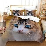 JXSMYT Juego de ropa de cama de tres piezas, diseño de gato, 155 x 220 cm, para niños, con 1/2 fundas de almohada (peine de 16,135 x 200 cm + 1 x 80 x 80 cm)