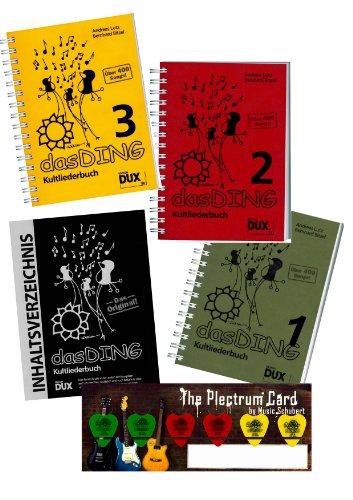 Das Ding 1+2+3 - der ultimative Liederbuch - Megapack ! ! ! (über 1200 Songs !) im Set mit Musik-Schubert Plektrum-Card© und extra Gesamt-Inhaltsverzeichnis - alphabetisch sortiert