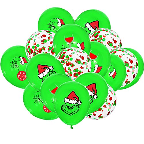 40PCS Grinch Balloons, 12 Inch Latex Christmas Grinch Ballloons for Grinch Birthday Party Decorations, Christmas Party Decorations, Boys Girls Christmas Birthday Party Decorations