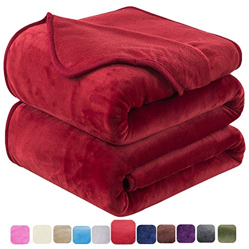 """HOZY Flannel Fleece Queen Size Summer Blanket All Season 350GSM Lightweight Throw for The Bed Extra Soft Brush Fabric Winter Warm Sofa Blanket 90"""" x 90""""(Red Queen)"""