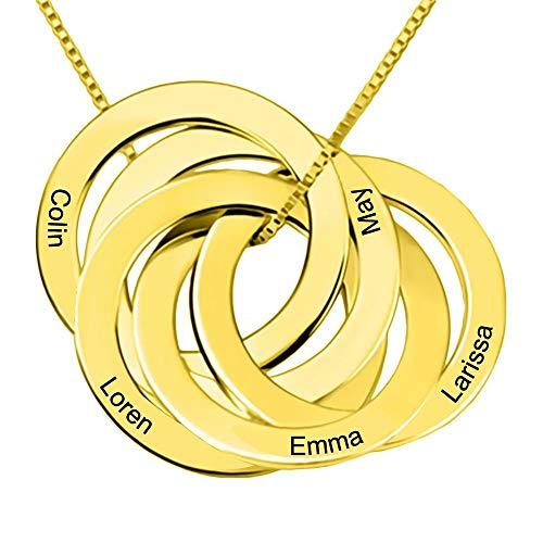 nisake Namenshalskette Personalisierte, Maßgeschneiderte Namensschilder-Familien-Halsketten mit Kreisen für 5 Gold- / Roségold- / Silberketten