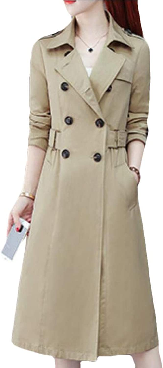 Maweisong Women Outerwear Long Sleeve Lapel DoubleBreasted Trench Coat Overcoat