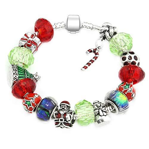 Demarkt Pulsera de perlas de Navidad para mujer, pulsera con colgante de barra de caramelo, accesorio de joyería