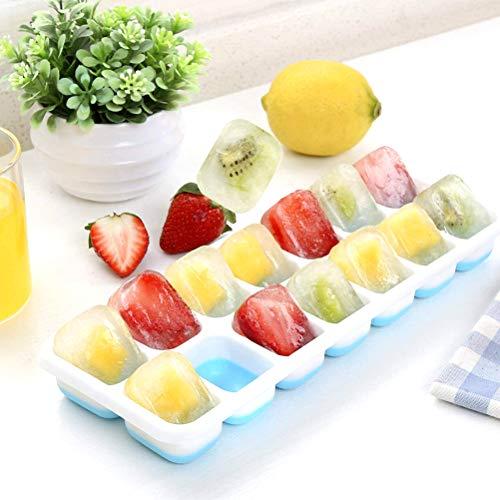 TAIPPAN ijsblokjesbakken, siliconen ijsblokjesbakken met stapelbaar deksel LFGB gecertificeerd BPA-vrij vierkant en ronde ijsblokjesvormen voor vriezer, babyvoeding, Whiskey, Cocktails(4 pakketten)