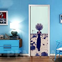 ZWYCEX ドアステッカー 3Dドアステッカー自己接着ツリー風景の写真デカールホームデコレーション紙のリビングルームPVC防水アートポスターを印刷 (Sticker Size : 95x215cm)