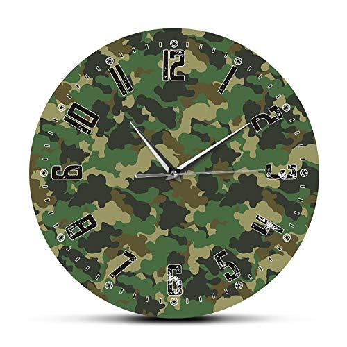 xinxin Reloj de Pared Army Soliders Camuflaje Verde Arte de la Pared Dormitorio Moderno Reloj de Pared silencioso Reloj Militar Colgante Reloj de Pared Hombre Cueva Decoración de Camuflaje