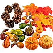 Whaline Thanksgiving Artificial Harvest Pumpkins, Maple Leaves, Gourd, Pine Cones and Acorns Set for Autumn, Fall and Halloween Home Table Decoration, 31 Pieces