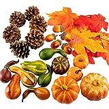 Whaline - Juego de calabazas, hojas de arce, calabaza, conos de pino y bellotas para decoración de mesa, 31 piezas