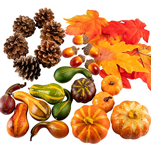 Whaline - Juego de calabazas, hojas de arce, piñas de pino y bellotas artificiales para decoración de mesa otoñal o de halloween, 31 artículos