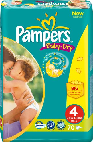 PAMPERS Baby Dry envase Talla 47–18kg/70unidades)