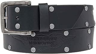 Men's Speed Bump Belt, Studded Black Leather Belt HDMBT11033-BLK
