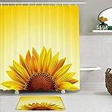 Juego de cortinas y tapetes de ducha de tela,Realista Girasol En Sol Soleado Tipografía Vegetal Copia Espacio Moda Nat,cortinas de baño repelentes al agua con 12 ganchos, alfombras antideslizantes
