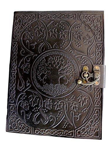 Diario de piel con diseño del árbol de la vida de Handmadecraft, tamaño grande, para escribir, hecho a mano