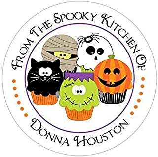 Personalized Customized Halloween Party Favor Thank You Stickers - Cute Cupcakes - Round Labels - Choose Your Size