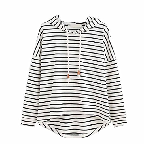 Tsmile Clearance Fashion Womens Stripe Hoodie Tunic Ladies Loose Long Sleeve Jumper Casual Tops (White, L)