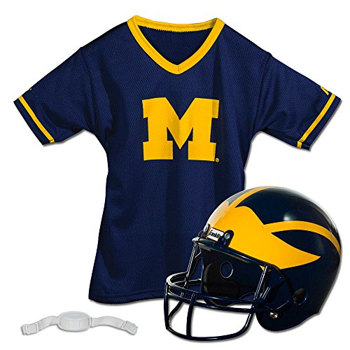 Franklin Sports Michigan Wolverines Kids College Football Uniform Set - NCAA Youth Football Uniform Costume - Helmet, Jersey, Chinstrap Set - Youth M