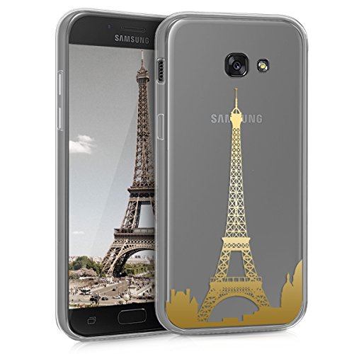 kwmobile Funda Compatible con Samsung Galaxy A5 (2017) - Carcasa de TPU del Skyline París en Dorado/Transparente