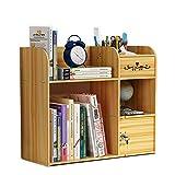 Organizador de escritorio de oficina, organizador con soporte para lápices, armario con cerradura para escritorio, oficina, hogar y escuela, ahorro de espacio todo en uno, color Madera de cerezo.