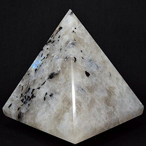 "Rainbow Moonstone Pyramid with Black Tourmaline | High Quality Natural | Energy Generator | Reiki healing Stone | Approx. 1.5""-2"" Inches base | Spiritual Balancer Pyramid | US Seller"