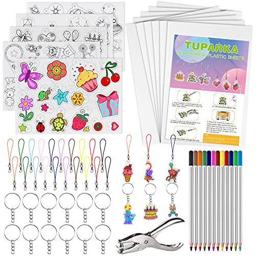 TUPARKA 60 Stück Wärme Plastikblatt Kit Shrink, Schrumpfblätter Creative Pack, einschließlich 10Pcs Blank Shrink Film Papier und 5 PC Art Papier Shrink mit Muster, Locher, Schlüsselanhänger, Stifte