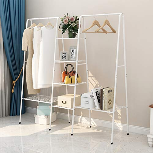 DUMEE Garment Rack Metal Clothing Racks with 4-Tiers 6 Shelf Shoe Rack 2 top crossbars Overhead Bar for Hanging Clothes Coat Hat Rack and Storage Metal Stable Easy to Assemble Adds Closet Space White