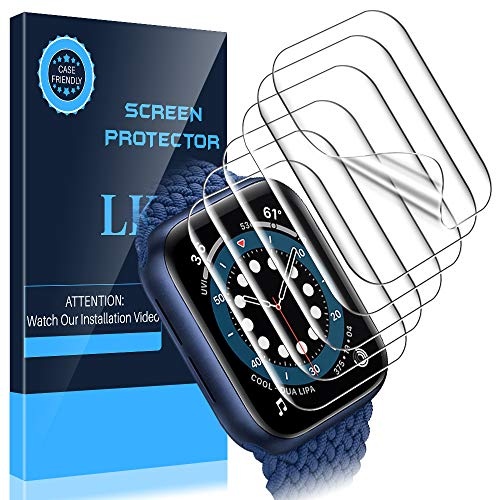 LK [6 Pack] Screen Protector for Apple Watch Series 6 / SE 44mm,[Model No. KR486] [Max Coverage] [Self-Healing] [Bubble Free] Compatible with iwatch 6 / SE 44mm, HD Clarity Flexible TPU Film