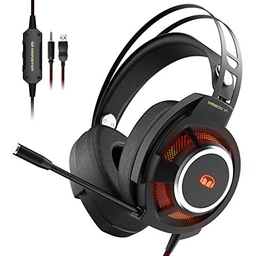 Monster Mission V1 Gaming-Headset,Gaming Kopfhörer mit USB Kabel und Geräuschunterdrückendem Mikrofon,Haben RGB Licht,Gaming Kopfhörer für PC,Mac,Xbox One,PS4,PS5,Switch.