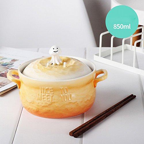 Mignon Soupe en Céramique Bol Nouilles Vaisselle avec Couvercle de Dessin Animé de Style Japonais Étudiant Dortoir Nouilles Instantanées Bol Maison Grande,Je,11.5CM
