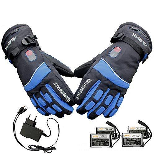 CHUDAN Herren/Frauen Beheizbare Handschuhe Elektrisch beheizte Ski-Handschuhe mit 3-Stufen-Temperaturregelung wasserdichte Motorrad Winter Handwärmer Fäustlinge mit Akkus,Blau,XL