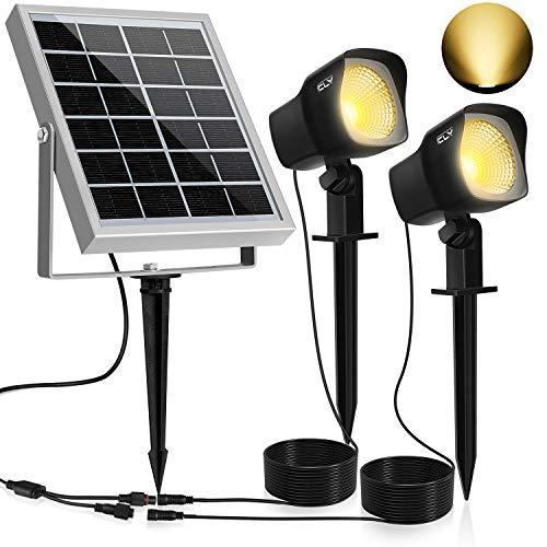 Solar Proyector LED CLY,300LM Luz del Jardín,2 * 1.5W Luz Solar de Blanco Cálido,Impermeable IP66 Foco Solar Exterior con Dos Bombilla para Jardín,Césped,Patio,Camino,Corredor