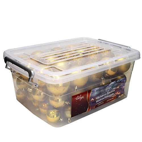 Wohaga® 70 Stück Weihnachtskugeln inkl. Transportbox Christbaumkugeln Baumschmuck Weihnachtsbaumschmuck Baumkugeln-Set, Farbe:Gold