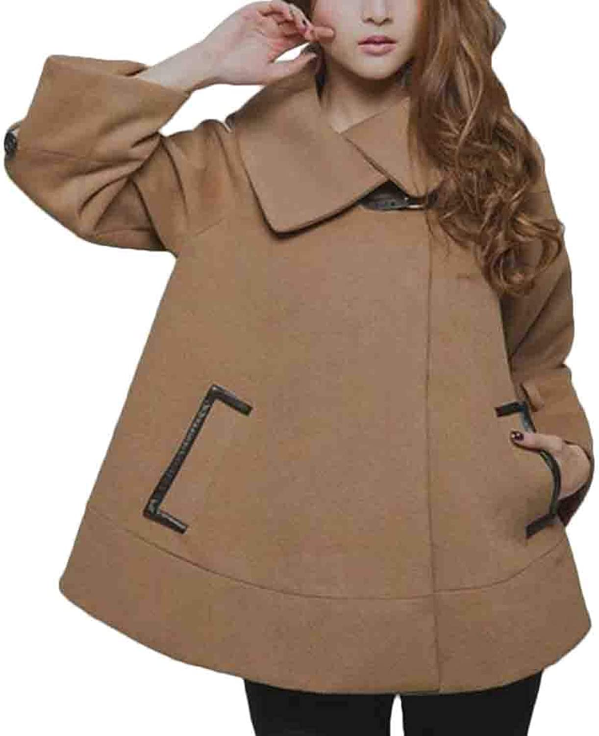 Ueioc Women Loose Fit Winter Cloak Overcoat Wool Cape Short Pea Coat