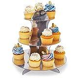 2er-Pack Cupcake-Ständer aus Pappe – 3-stöckiger Dessertständer Cupcake-Turm – Cupcake-Baum-Display für Babypartys, Hochzeiten, Geburtstage, Gold und Silber, 30 x 34 x 30 cm - 3