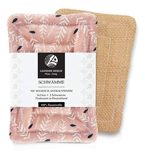 2er-Pack Spülschwämme im Set 9x13cm – aus Baumwolle in Premiumqualität – Handgearbeitet – umweltfreundliches Abwaschen – tiefe Reinigung für die Küche – haltbarer Schwamm (9 x 13 cm, altrosa)