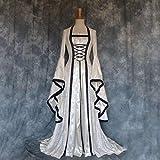 Fnho Vestido Vintage Mujer Medievales,Renacentista Disfraz Medieval para Mujer Vestido,Vestido de Terciopelo denso, Vestido Retro de Corte-Blanco_4XL
