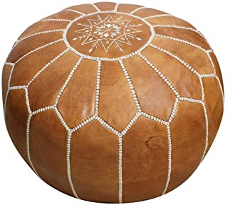 Moroccan Poufs Leather Luxury Ottomans Footstools Tan Unstuffed