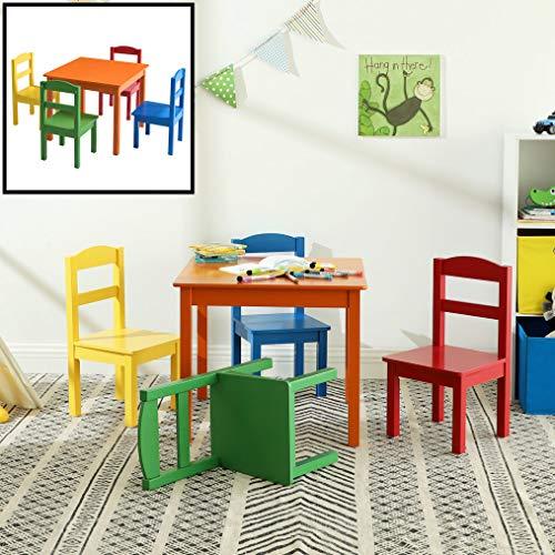 Kindertafel met stoeltjes van hout - 1 tafel en 2 stoelen voor kinderen - Rood, blauw, groen geel, oranje - Kleurtafel/speeltafel/knutseltafel/tekentafel/zitgroep set - Decopatent