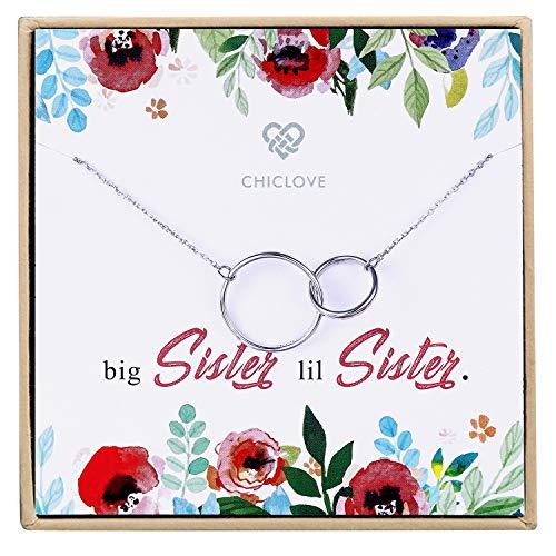 CHICLOVE Große Schwester Lil Schwester Halskette - Sterling Silber Zwei ineinander greifende Unendlichkeit Doppelkreise Anhänger Halskette eingraviert Big Sister Lil siter