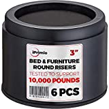 "iPrimio Bed and Furniture Risers – 6 Pack Black Round Elevator up to 3"" & Lifts Up to 10,000 LBs - Protect Floors and Surfaces – Durable ABS Plastic and Anti Slip Foam Grip – Non Stackable"
