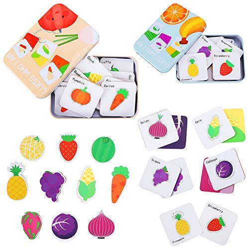 Earsam Preschool Memory Matching Puzzles Game Box, Montessori Education Animal Flash Card Toys for Kids Boys Girls Toddlers 12 Months and Up for Patterns and Colors Recognition Learning (2Pack Fruit)