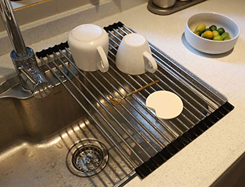 """17.8""""L x 11.2""""W Roll up Dish Drying Rack Over Sink Stainless Still Dishes Drainer Rack Multipurpose Kitchen Drying Rack Foldable Dryer Rack for RV and Camper by SHUYUE"""