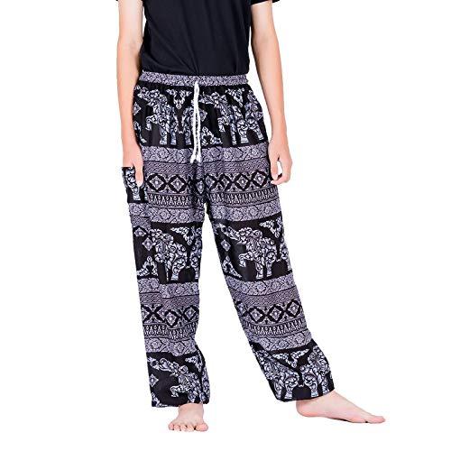 Lofbaz Pantaloni Boho con Tasche per Uomo Pigiama Yoga Abbigliamento Casual da Spiaggia Abbigliamento per Adulti Salotto Elephant 8 Nero M