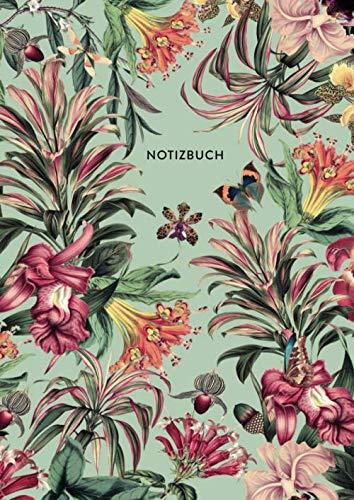 Notizbuch: Botanischer Garten   DIN A4, liniert, 108 Seiten, florales Design   für Notizen, Skizzen, Zeichnungen - Ideal als Skizzenbuch, Malbuch oder Schulheft